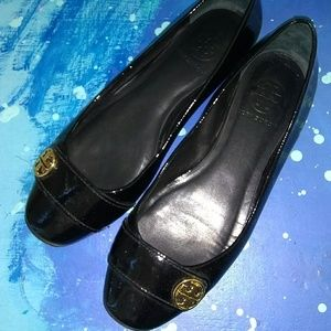 Tory Burch shiny black leather flats